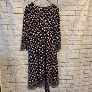 INC 3X blue brown black pattern dress 4488